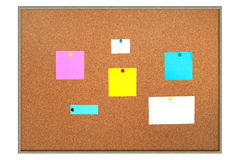 Bulletin board. A bulletin board with blank sticky notes for copy Stock Images