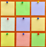Bulletin board with colorful paper notes Royalty Free Stock Photography