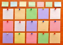 Bulletin board with colorful paper notes Royalty Free Stock Image
