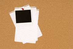 Polaroid photo frame on cork notice board, untidy torn note paper, copy space Stock Images