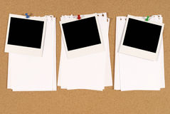 Row three polaroid frames notepaper pushpin copy space Stock Image