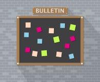 Bulletin board hanging on brick wall Stock Photos