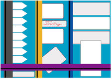Bulletin Board for labels. Blue background with a collection of vector labels Stock Photo