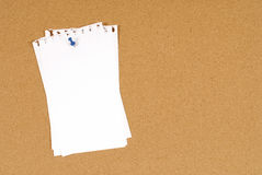 Torn note paper pinned to a cork bulletin board background, copy space Royalty Free Stock Photography