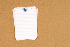 Untidy torn notepaper pinned to a cork bulletin board background, copy space Royalty Free Stock Photography