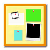 Bulletin Board with Notes. Illustration of a framed bulletin board with blank polaroid frame, post-it notes, 35mm filmstrip frame attached with push pins Royalty Free Stock Photo