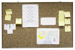 Bulletin board with paper notes Royalty Free Stock Photo