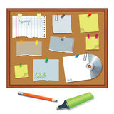 Bulletin board with paper notes Royalty Free Stock Photography