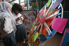 Bulletin board. Senior high school students learn how to make a bulletin board in the city of Solo, Central Java, Indonesia Royalty Free Stock Photography