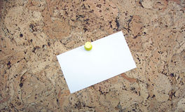 Bulletin Board w/ Blank Card (Your message Here). Photo of blank card on bulletin board. Insert your message on card Royalty Free Stock Photo