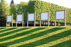 Bulletin boards in a public garden, a space of expression  (France) Royalty Free Stock Images