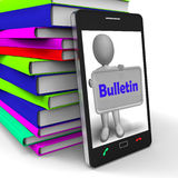 Bulletin Phone Shows Media Reporting Or News Stock Image