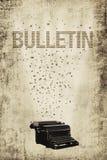 Bulletin poster. Antique typewriter with flying wording towards to bulletin Stock Image