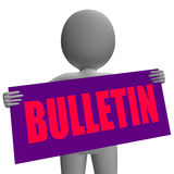 Bulletin Sign Character Shows Bulletin Board Or Stock Image
