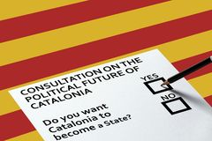 Bulletin for voting on the Catalonia background. Referendum Democracy Freedom Independence Concept. Voting in elections or referendum, ballot for voting on the royalty free stock images