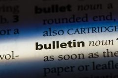 Bulletin. Word in a dictionary.  concept Stock Image