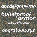 Bulletproof armor typeface Stock Photos