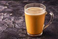 Bulletproof coffee, blended with organic butter and MCT coconut. Oil, paleo, keto, ketogenic drink breakfast stock image