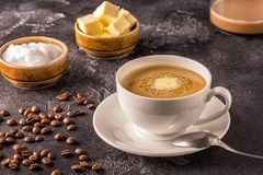 Bulletproof coffee, blended with organic butter and MCT coconut stock images