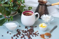 Bulletproof coffee recipe keto. it works ketogenic diet. royalty free stock photos