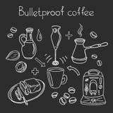 Bulletproof coffee. Set. Vector sketch Royalty Free Stock Photo