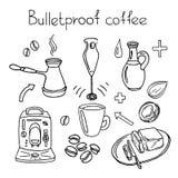 Bulletproof coffee. Set. Vector sketch Royalty Free Stock Images