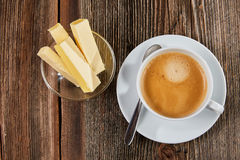 Bulletproof Coffee in a white cup Royalty Free Stock Photo