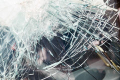 Bulletproof glass car after the shooting Stock Photos