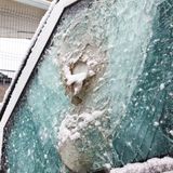 Bulletproof glass car after the shooting Stock Image
