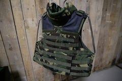 Bulletproof military vest. On display Stock Photos