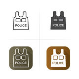 Bulletproof vest icon. Flat, linear and color. Royalty Free Stock Photo