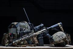 Bulletproof vest, rifle and helmet Royalty Free Stock Image