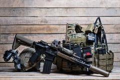 Bulletproof vest,rifle and helmet Royalty Free Stock Photo