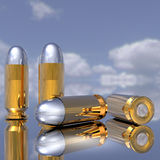 Bullets. Bright golden bullets in 3D Stock Images