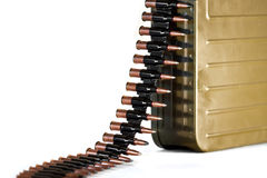 Bullets. A lot of machine gun bullets on the white background Stock Image