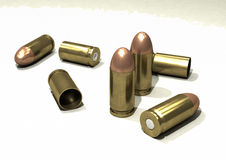 Bullets. 9mm bullets, some new, some spent Royalty Free Stock Photos