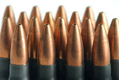Bullets. Rifle bullets 7.62mm in green Royalty Free Stock Image