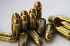 Bullets. Many bullets laying on table Stock Images
