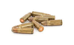 Bullets. Pistol bullets studio isolated over white Royalty Free Stock Images