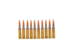 Bullets. 10 Bullets on the white Stock Photography
