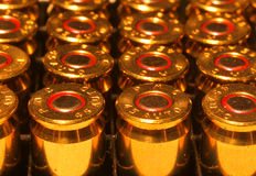 Bullets. Rows of 45 calibur ammo royalty free stock photography