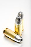 Bullets 9mm macro. On brushed metal Stock Photography