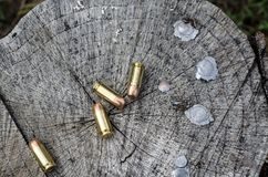 Bullets, ammunition and spent lead tips Royalty Free Stock Image