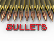 Bullets arranged in a row Stock Photography