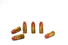 Bullets automatic pistol. On white background Royalty Free Stock Image
