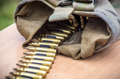 Bullets in a belt Royalty Free Stock Images