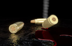 Bullets in the blood. Fired shots fall in blood Stock Photos