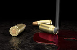 Bullets in the blood 2. Smoke coming out of bullet Royalty Free Stock Photos