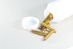 Bullets in bottle isolated Royalty Free Stock Photo