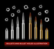 Bullets and bullet holes. Vector illustration. On black background Royalty Free Stock Photography
